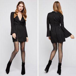 BCBGeneration Striped Surplice Tuxedo Dress Sz L